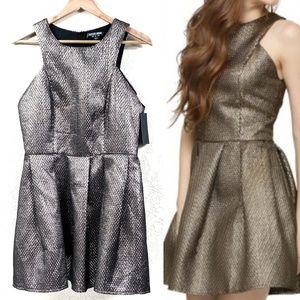 Fashion Union Metallic Fit And Flare Dress C49